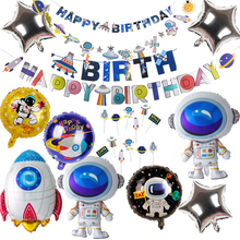 Outer Space Party Giant Rocket Astronaut balloons Foil Balloons Galaxy Theme Baby Boy Kids Birthday Decor