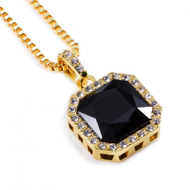 New Mens Women Hip Hop Black Onyx Pendant Necklace 295inch Box Chain Big Stone