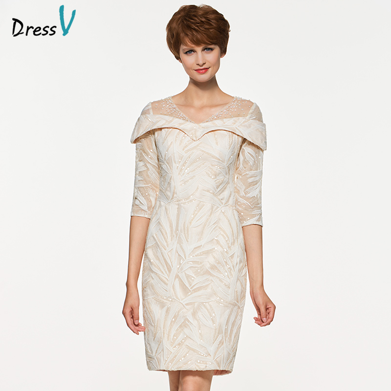 Dressv knee length v neck mother of bride dress with 3/4 sleeves beading sequins long lace mother evening gown custom