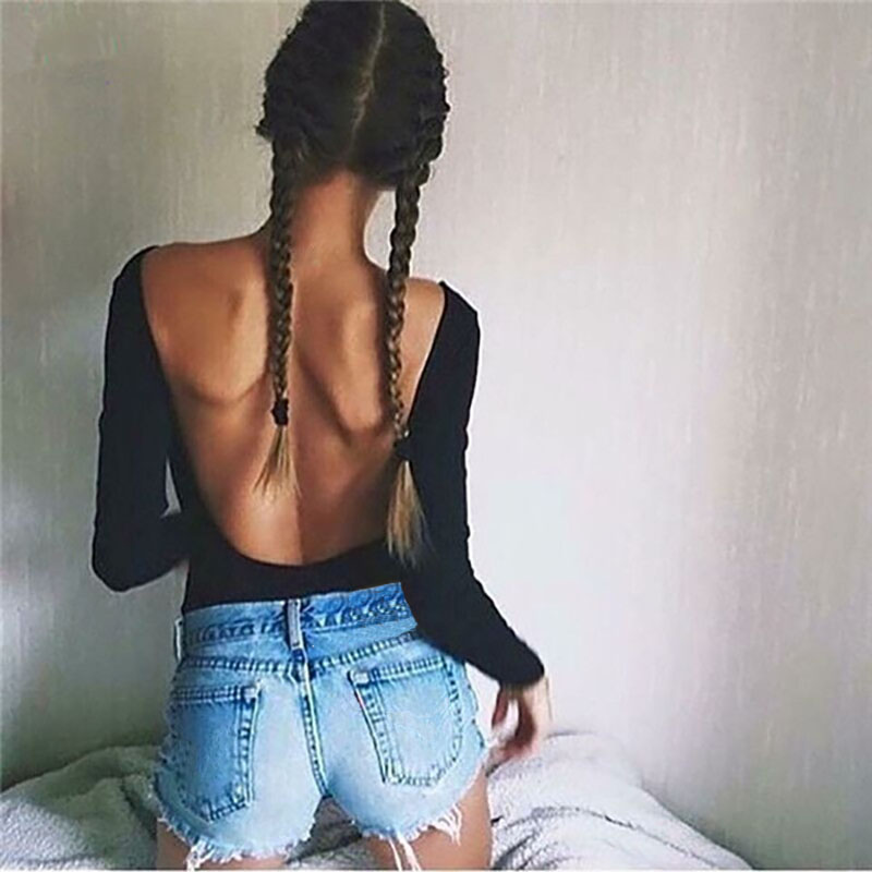Women's Clothing Sexy Backless Long Sleeve/sleeveless O-neck Skinny Bodysuit Autumn Women Black Red Solid Sexy Body Suit Party Beach Club