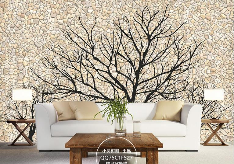 Custom Creative 3D Wallpaper Walls mural For Living Room Hotel Mural Stereo Cement wall trees Silhouette Home Decor Wall Papers 2017 3d wallpaper walls rose tree swan butterfly 3d mural wallpaper for marriage room living room bedroom wall papers home decor