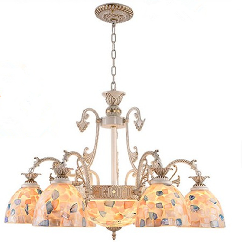 Battery Operated Chandelier With Awesome Battery Operated Outdoor And Indoor Chandelier Decor: Modern Chandelier Europe Style Tiffany Decoration Metal Part Shell Cover Chandeliers Home