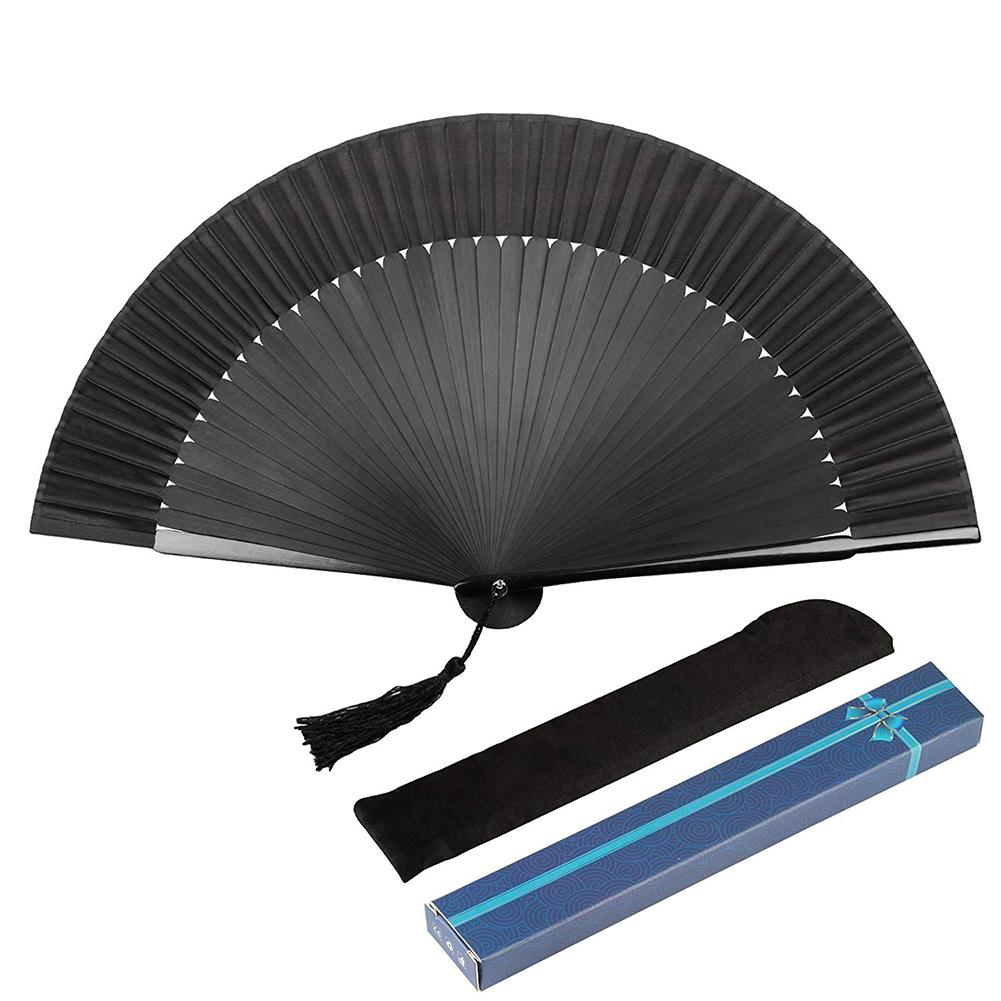 Black Fans Folding Hand Held Cloth Bamboo Fan Chinese Painting Fan For Dancing Wedding Party Home Decor Craft Gift For Men Women