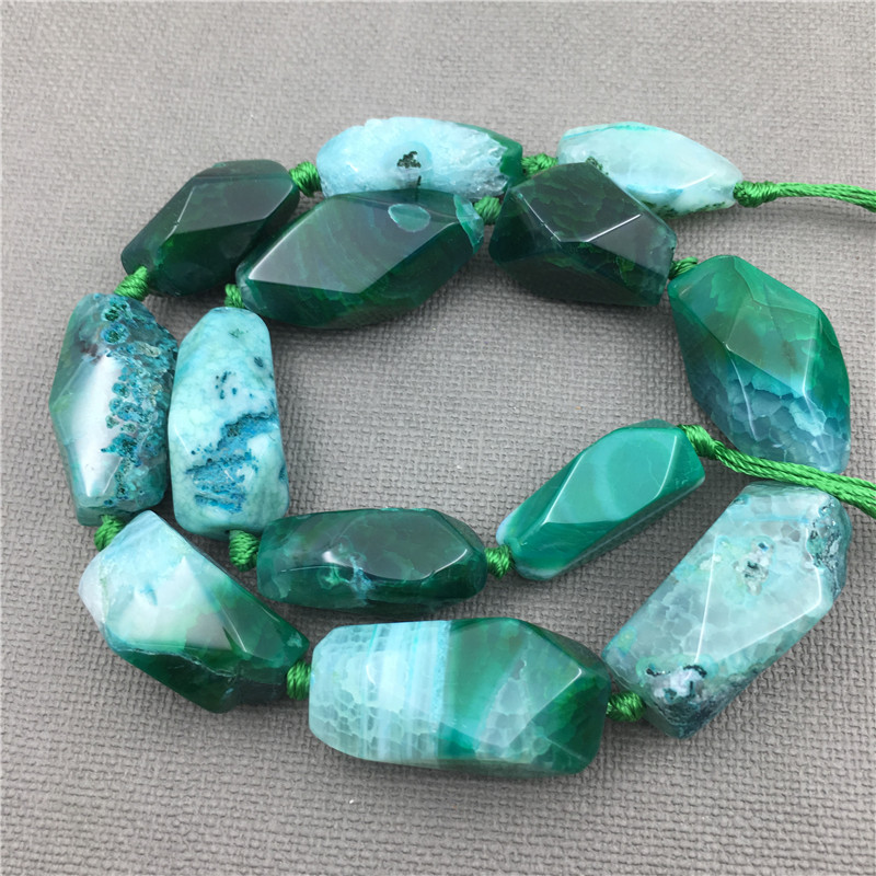 MY1281 Poliedro Faceted Green Dragon Veins Agates Large Mix Size Banded Agates Quartz Pendant Beads For Jewelry