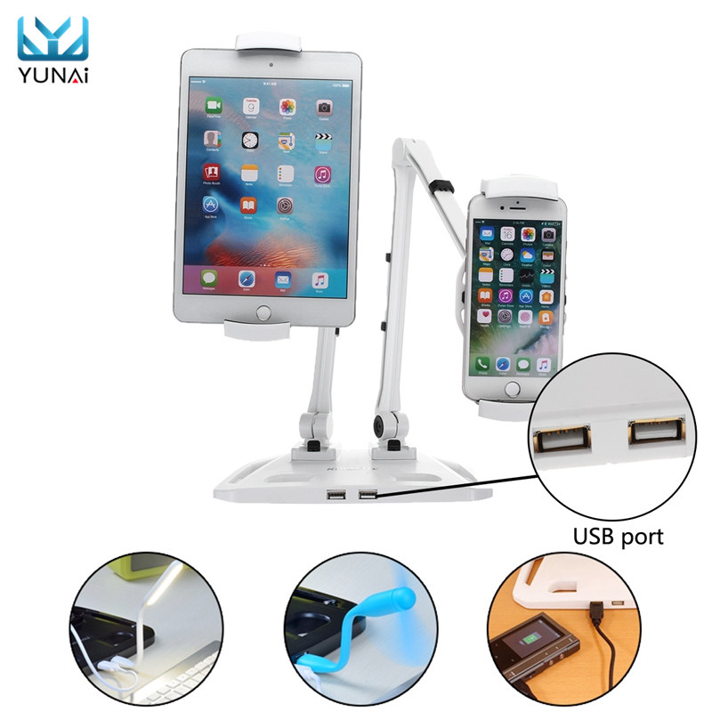 YUNAI Tablet Holder Mount Stand For iPad Dual Arms Holder Mount Stand Swivel USB Port For iPad Tablet Moblie Phone Laptop