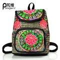Pongwee marca back pack mochila feminina mochilas de lona estilo nação chinesa do vintage pequenas mulheres mochila schoolbag mochila