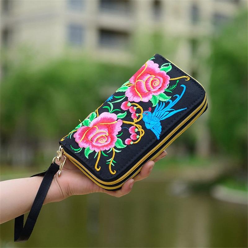 Embroidered Wallet Purse Clutch Phone-Handbag Flower Handmade Fashion Women Long New
