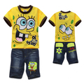 Wholesales boys Spongebob t-shirt jeans suit short 2pcs baby boy suit kids t-shirt jeans pants short sleeves cartoon retail