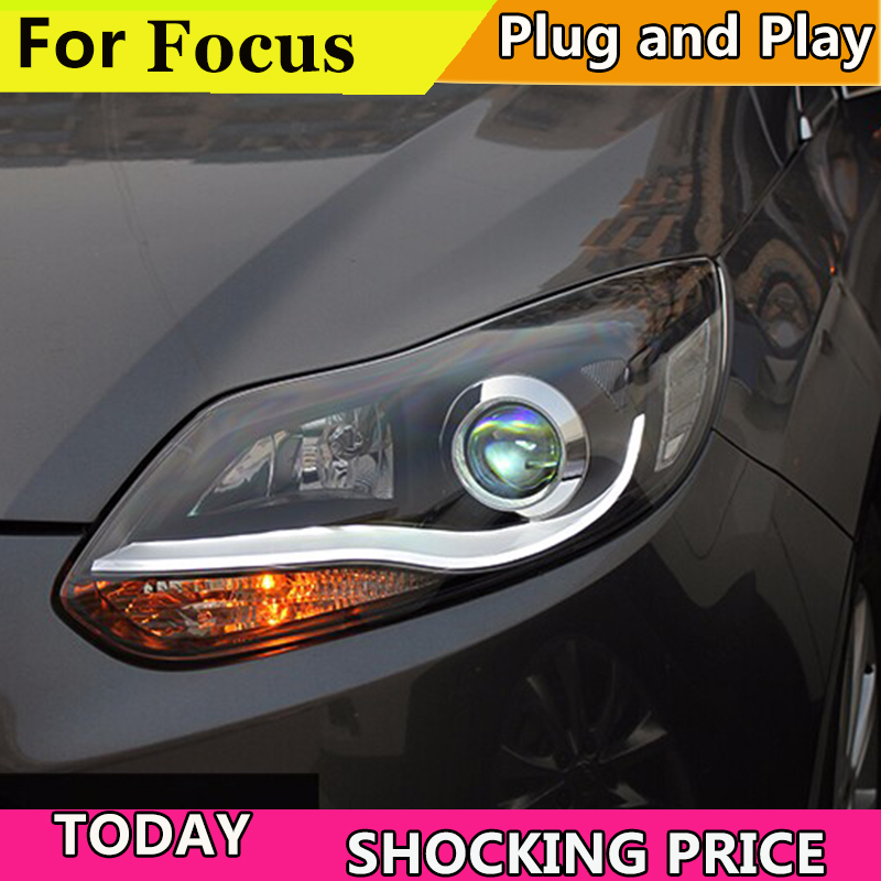 Car Styling 2012 2013 2014 for Ford Focus LED Headlights fpr New Focus 3 DRL Lens Double Beam H7 HID Xenon bi xenon lens auto lighting style led head lamp for mazda 3 axe headlights for axela led angle eyes drl h7 hid bi xenon lens low beam