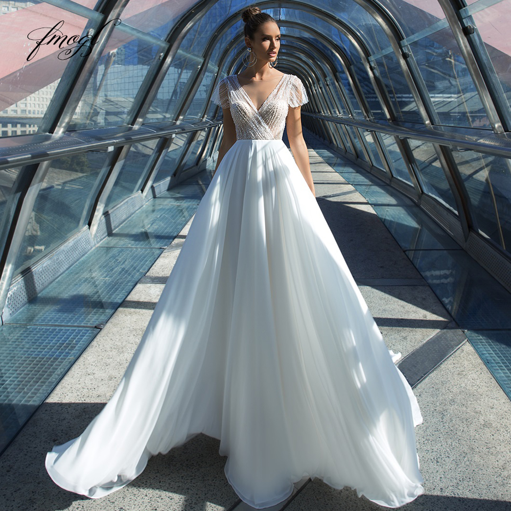 Fmogl Sexy Backless Crystal Pearls Chiffon A Line Wedding Dresses 2019 Luxury V Neck Beaded Cap Sleeve Vintage Bridal Gowns