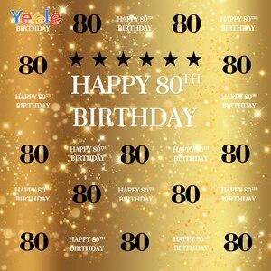 Счастливый 80th 70 60 50 21 день рождения фон Золотой горошек боке Блестящий пользовательский Виниловый фон для фотосъемки фотостудия Фотофон