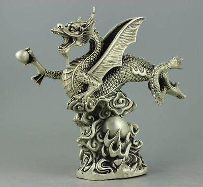 Statue de dragon de mouche en argent tibétain décorée à la main