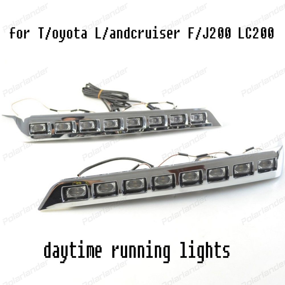 Waterproof LED car drl Daytime Running Lights accessories For T/oyota L/ANDCRUISER LED DRL F/J200 LC200  2012-2015  fog cover