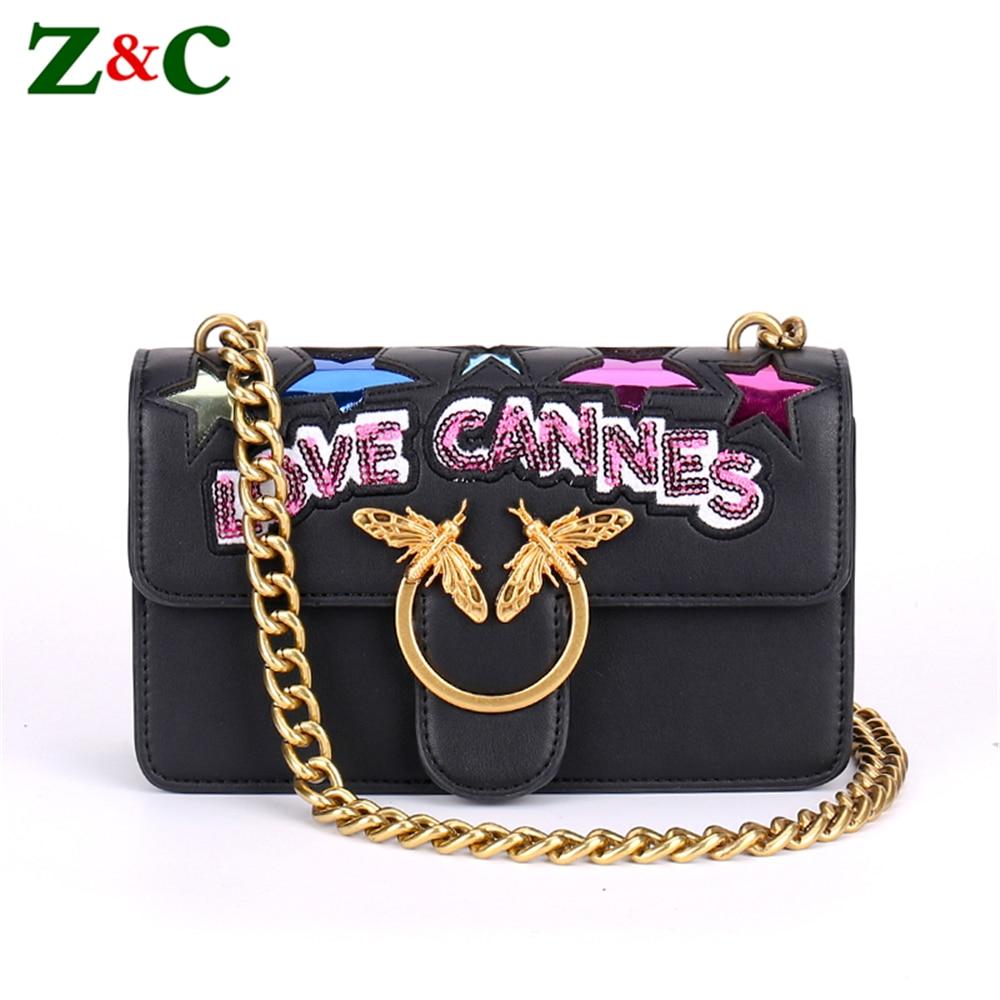 2018 Organ Bag Summer Trend Women Chain Shoulder Bag Messenger Bag Bee Designer Star Letter Bolsa Lady Clutch Handbags and Purse