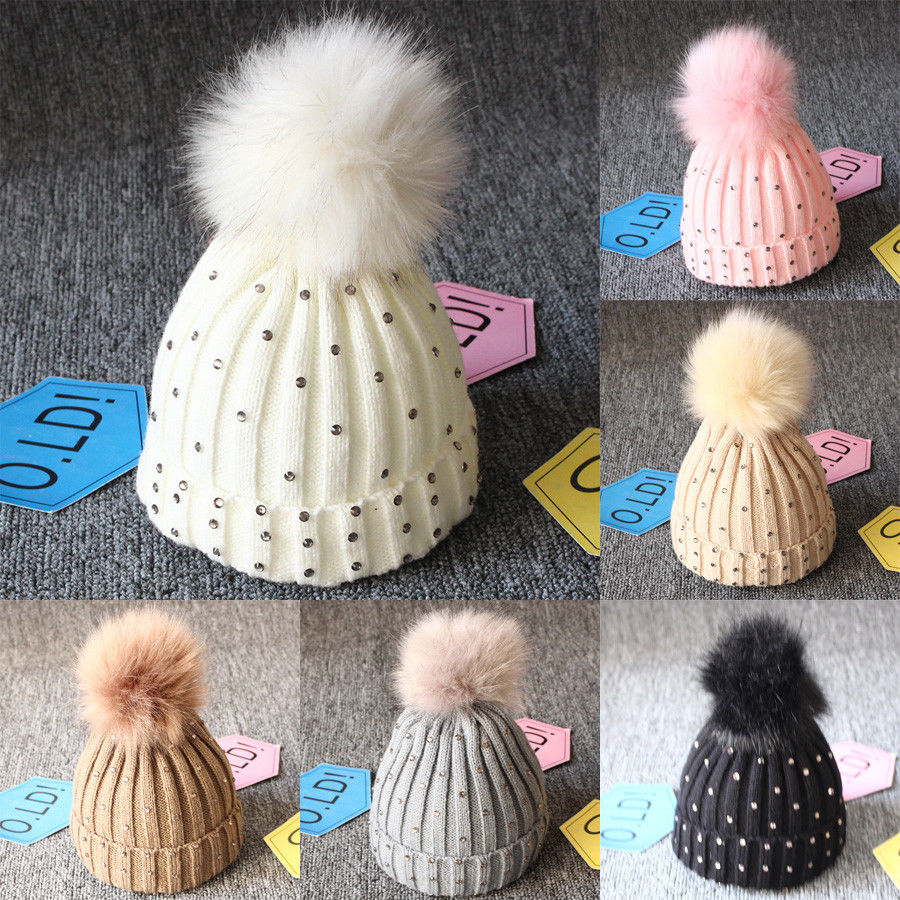Newly Arrival Kids Baby Girl Warm Winter Knit Beanie Fur Candy Color Bling Hat Crochet Ski Cap 2016 lady women s knit winter warm crochet hat braided baggy beret beanie cap 8n8d