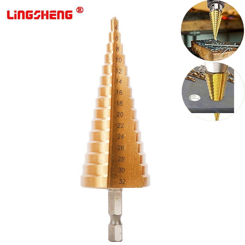 4-32MM HSS 4241 Hex Shank Tapered Titanium Step Stepped Cone Drill Bit Metal Hole Cutter Mini Drill Power Tools Accessories