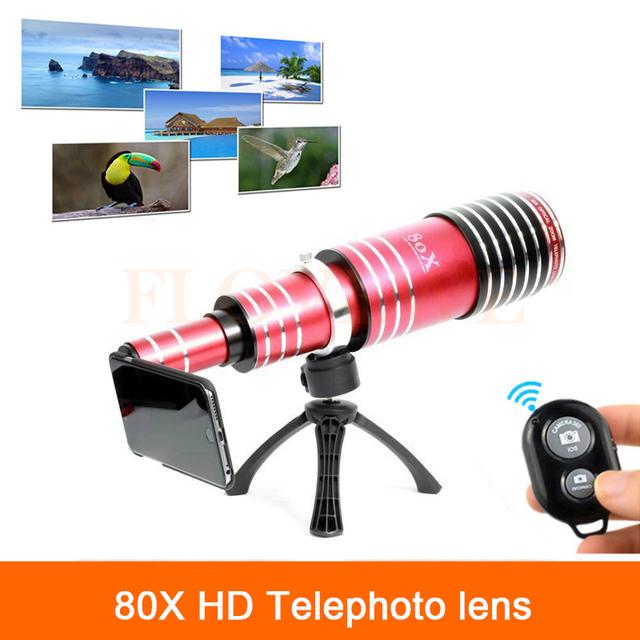80x metal teleobjetivo zoom para iphone 5 5s 6 6 s 7 plus samsung teléfono telescopio cámara lentes de obturación bluetooth + trípode titular