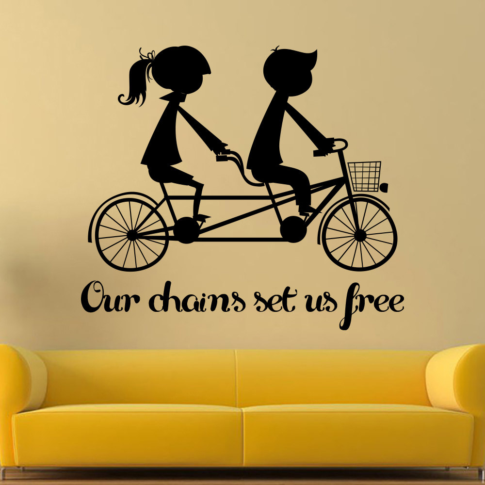 Romantic Art Wall Decal Lover Riding Bike Silhouette Home Bedroom ...