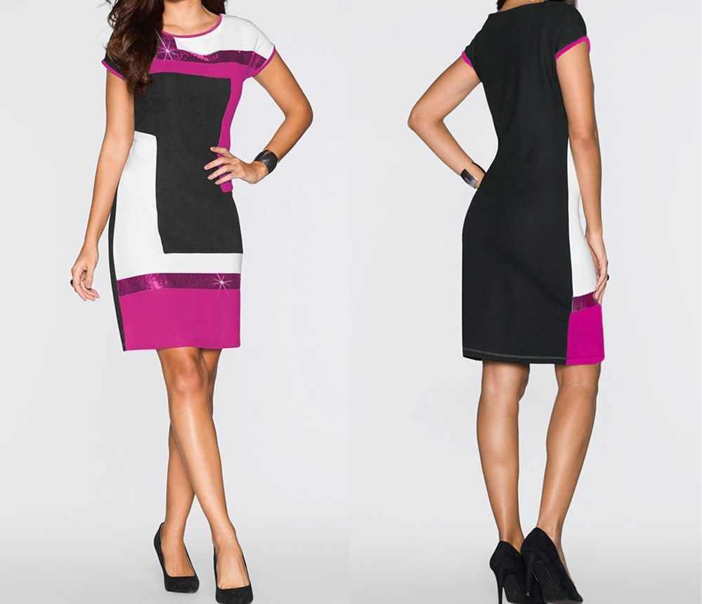 25681dab745c777 ... Женское Повседневное платье с коротким рукавом Вечерние вечернее  Клубное Облегающее с круглым вырезом женское летнее платье ...