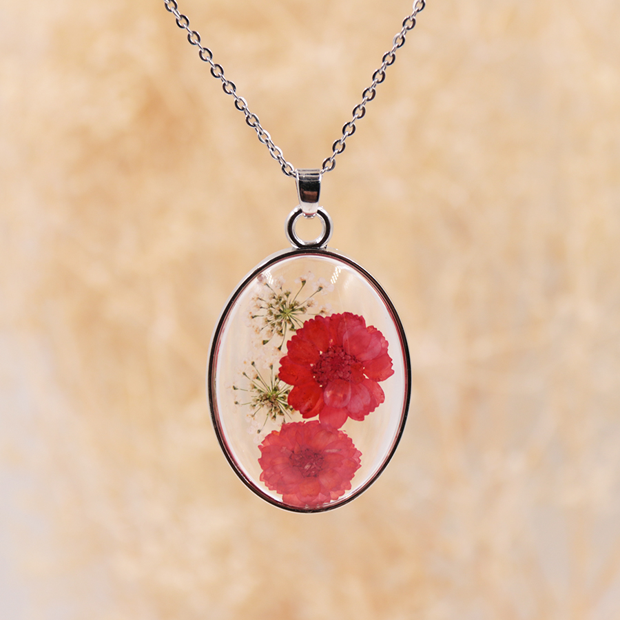 real floral chain transparent chain pendant flower pendant in resin choker chooker nylon chain with pendant with real flowers