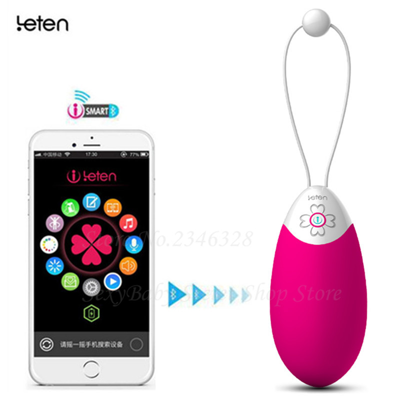 Leten 10 Speeds Smart APP Control Vibrator,Multi-function Waterproof Silicone Sex Bullet Vibrators,vagina Ben Wa Balls For Women leten smartphone app remote control sarah rabbit vibrators bluetooth connectivity waterproof sex toys for woman