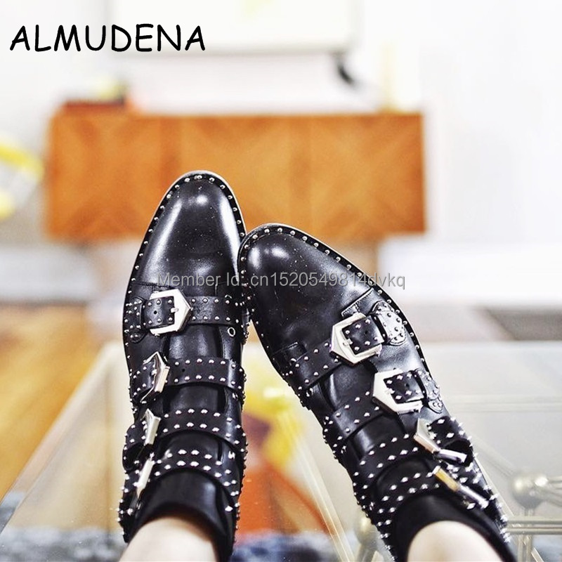 Cool Style Women Rome Studs Embellished Ankle Boots Black Leather Round Toe Metal Buckle Strap Motorcycle