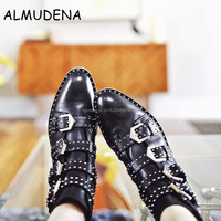 Cool Style Women Rome Style Studs Embellished Ankle Boots Black Leather Round Toe Metal Buckle Strap Motorcycle Boots