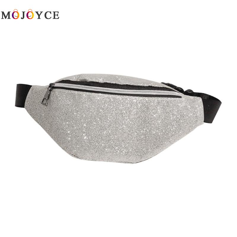 Sling Female Waist Bag Bling PU Leather Women Fanny Pack Luxury Fashion Ladies Bling Belt Bag heuptas holographic belt purse