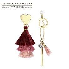 Neoglory, циркониевые Асимметричные богемные розовые серьги с кисточками, висячие серьги для женщин, ювелирные изделия, горячие подарки для матери, Новинка
