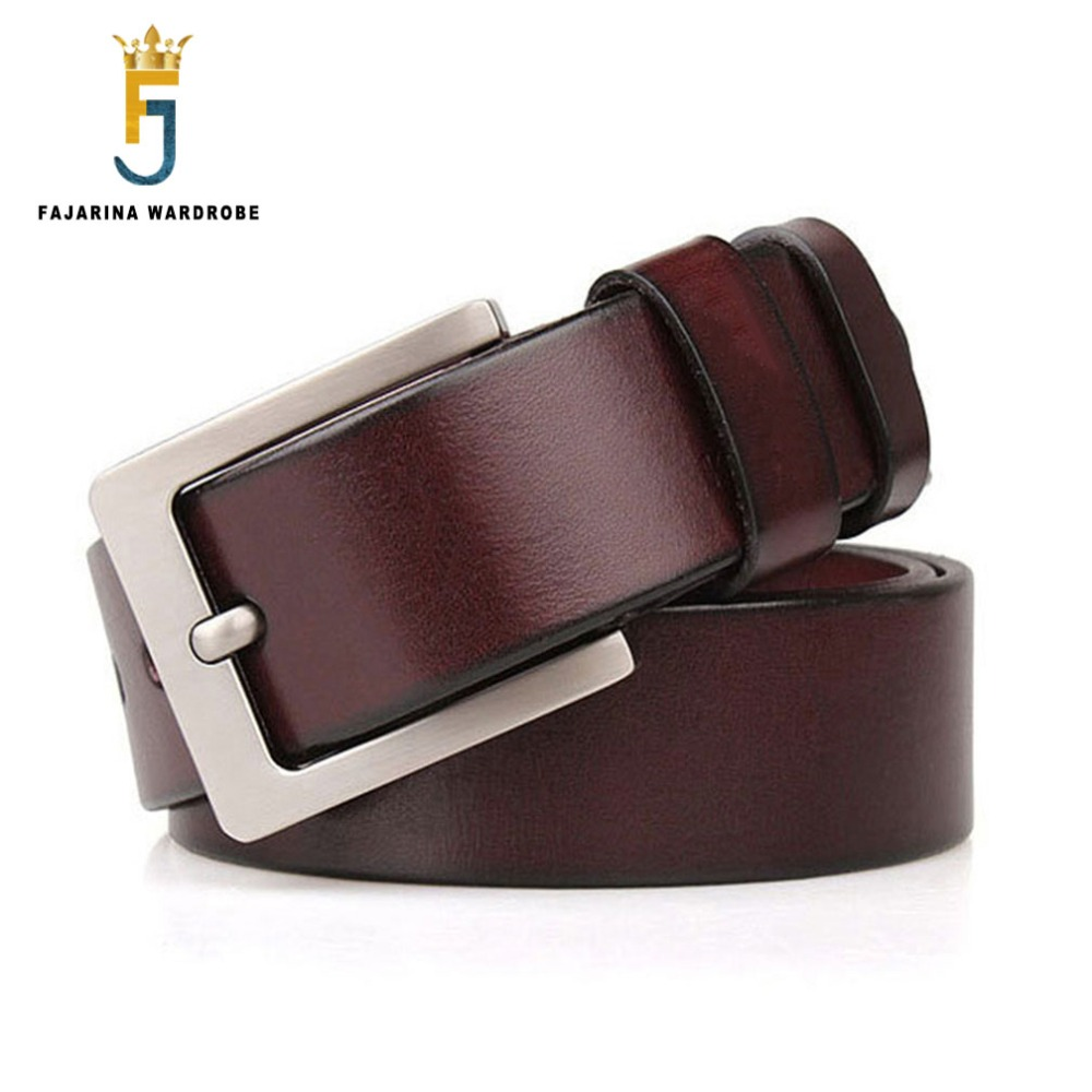 FAJARINA High Quality Cow Skin Genuine Leather Pin Buckle Metal Belts 38mm Wide for Men Extend