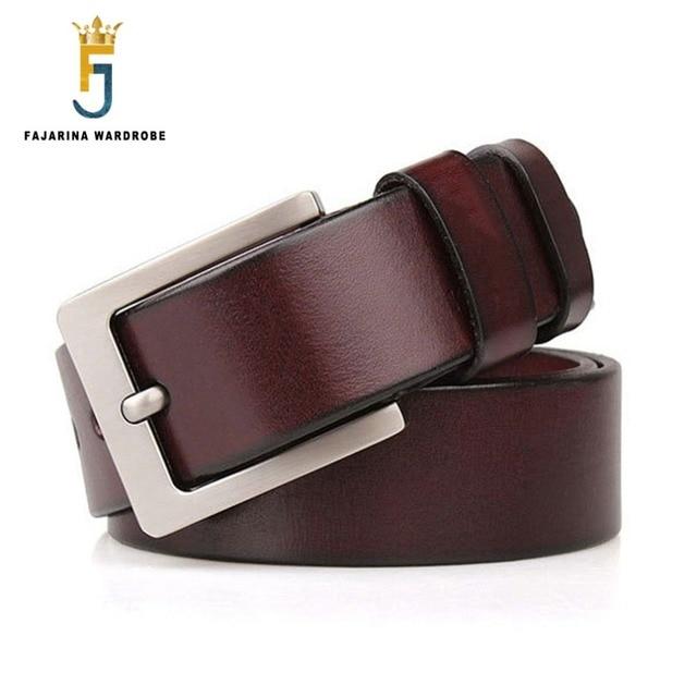FAJARINA Alta Calidad Piel de Vaca Cinturones de Cuero Genuino Hebilla de  Metal 38mm de Ancho e10c5108d0f9