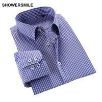 SHOWERSMILE Plaid Plus Size Man Shirts Cotton Slim Fit Men Casual Long Sleeve Shirts Spring Autumn