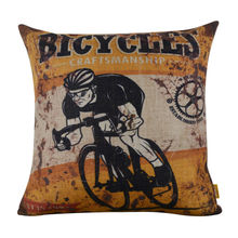 "LINKWELL 18x18"" Vintage Rusted Yellow Bicycle Racing Sports Athletic Burlap Cushion Cover Throw Pillowcase For Men Man Cave"