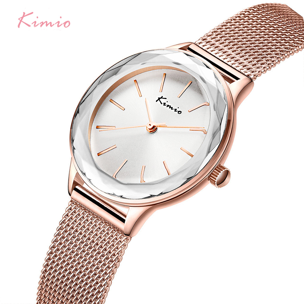 KIMIO Brand Women Gold Mesh Belt Watch Ladies Big Dial Multislice Quartz Watches Female dress Wristwatch Clock Reloj Mujer luxury pear shell dial ladies watches fashion green quartz women watch rose gold milan mesh belt waterproof watch reloj mujer