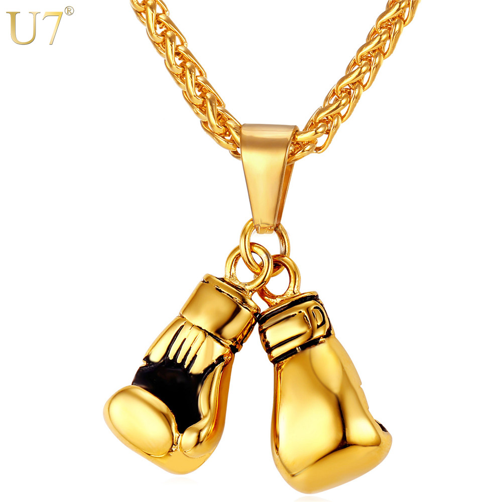 U7 Brand Men Necklace & Pendant Gold Color Stainless Steel Chain Pair Boxing Glove Charm Fashion Sport Fitness Jewelry P856