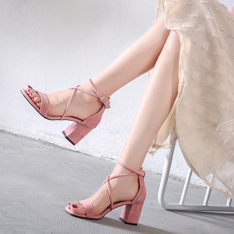 e63936cb419 US $18.38 25% OFF|thick high heels sandals women cross tied ankle strap  gladiator sandaks female designer pink suede platform sandals women y735-in  ...