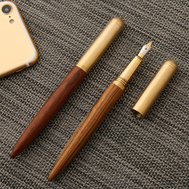 Vintage Wooden and Brass Fountain Pen