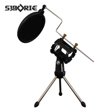 SIBORIE adjustable tripod stand holder for microphone BM 800 with pop filter cover BM 800 microphone