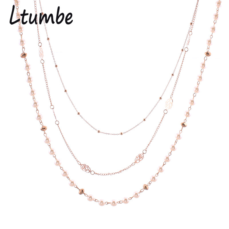 Ltumbe Noble Gold Color Multilayer Flowers Long Sweater Chain Necklaces Simulated Pearl Necklaces For Women Party Jewelry Bijoux