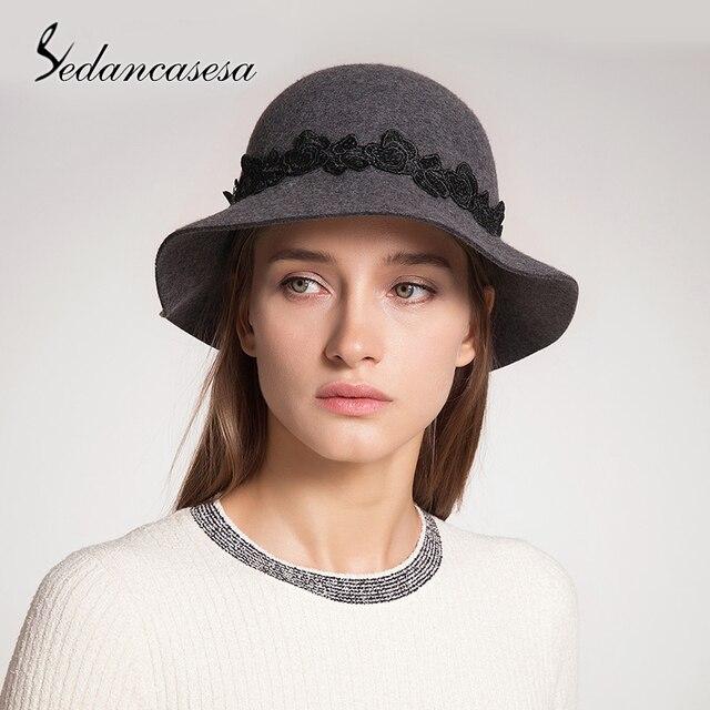 b835bb23801 Sedancasesa New England Style Winter Cloche Hat For Women Fedora Hat Woman Wide  Brim Handmade Lace