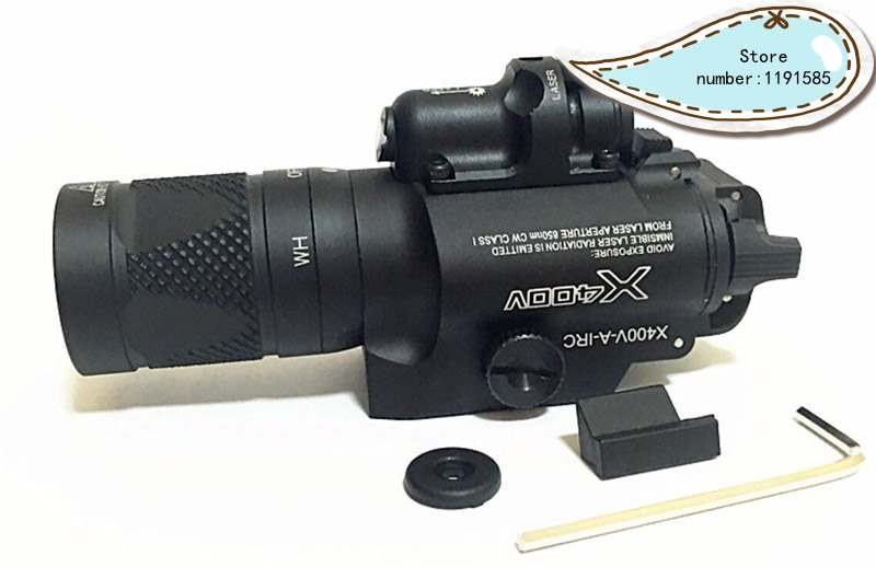 Tactical X400V Pistol Light Combo Red Laser Constant / Momentary / Strobe Output Weapon Rifle Gun Flashlight-in Hunting Gun Accessories from Sports & Entertainment    1
