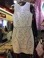 Moda al por mayor 2016 Nuevo estilo de vestido blanco Que Rebordea Elástico apretado vendaje del partido de Coctel de lujo (H1301)