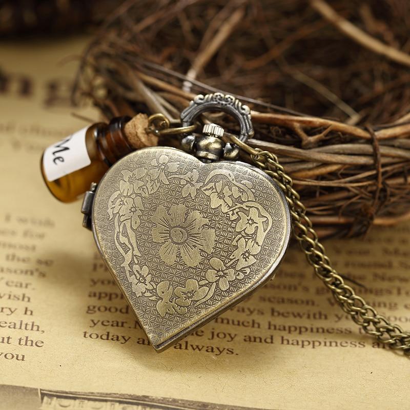 Parfüm Şişesi Cep Saati Hollow Kalp Çiçek Kabartmalı Bronz - Cep Saatleri - Fotoğraf 4