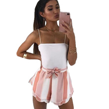 YJSFG HOUSE New 2018 Fashion Women Shorts Striped High Waist Belted Shorts Summer Casual Beach Hot Culottes Drawstring Loose