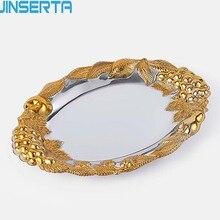 JINSERTA, металлический поднос, ювелирный дисплей, тарелка овальная, золотая, десертная, фруктовый, для торта, тарелка с ручкой для дома, вечерние, свадебные, Декор