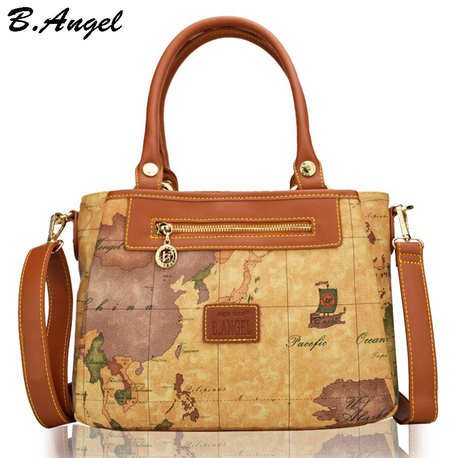 Haute qualité carte du monde femmes sac mode femmes messenger sacs spécial sac à main marque designer sac à bandoulière rétro sacs d'école