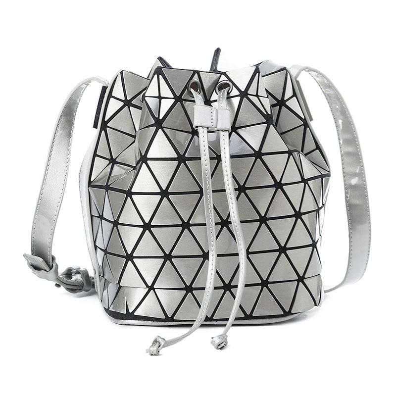 Women Bag Geometry Saser Plain Folding Pulling rope Bucket Bags PU Ladies Casual Tote Crossbody Bag Bolsas apricot soft plain pu crossbody bag