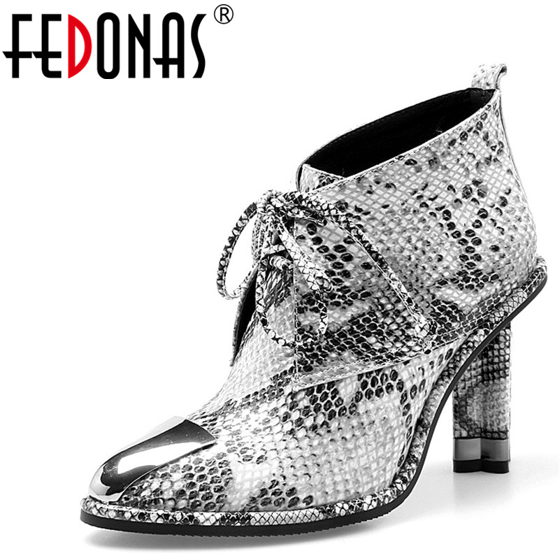 FEDONAS 2018 Genuine Leather High Heels Shoes Woman Office Dress Gladiator Pumps Women Ankle Boots Metal Toe Autumn ShoesFEDONAS 2018 Genuine Leather High Heels Shoes Woman Office Dress Gladiator Pumps Women Ankle Boots Metal Toe Autumn Shoes