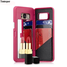 Зеркало для макияжа чехол для Samsung Galaxy S8 случае waterflow сетке кошелек + слот для карты чехол для Samsung S8 плюс женские сумки