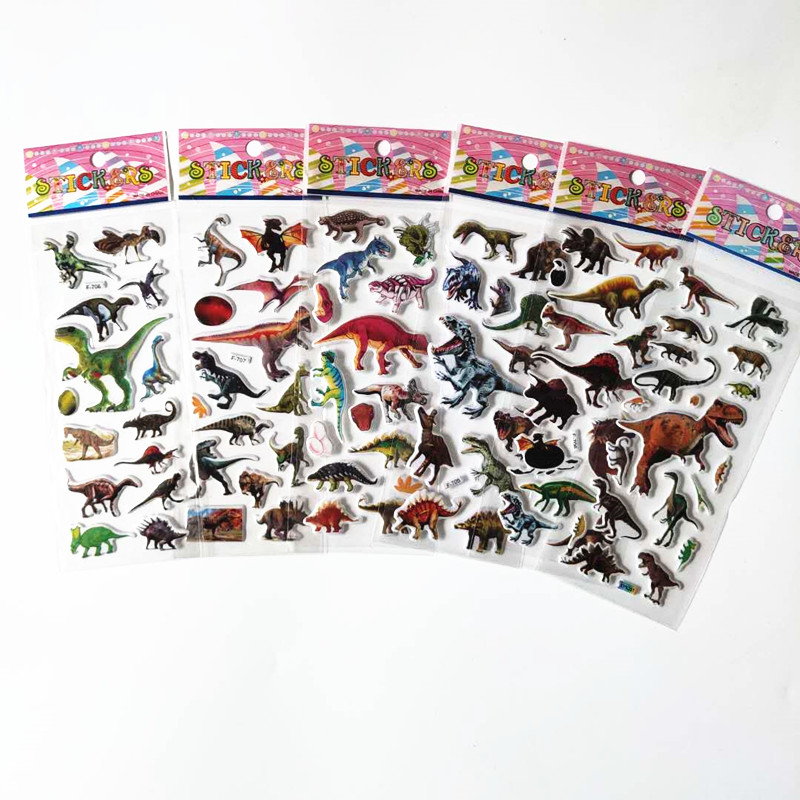 6pcs Kids Small Cute Cartoon Dinosaur Stickers For Boys Animals Baby Reward Teacher School 3D Colorful Scrapbook Dino Pegatinas